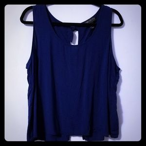 Adorable Forever21 navy blue open back top, 2X
